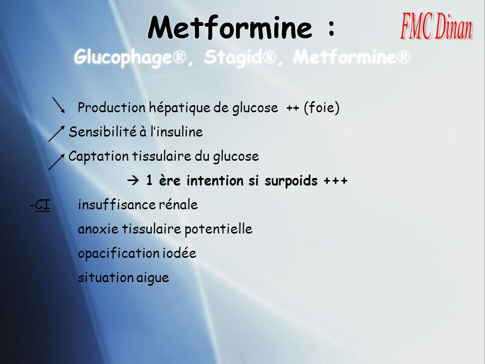 Metformine : Glucophage®, Stagid®, Metformine®