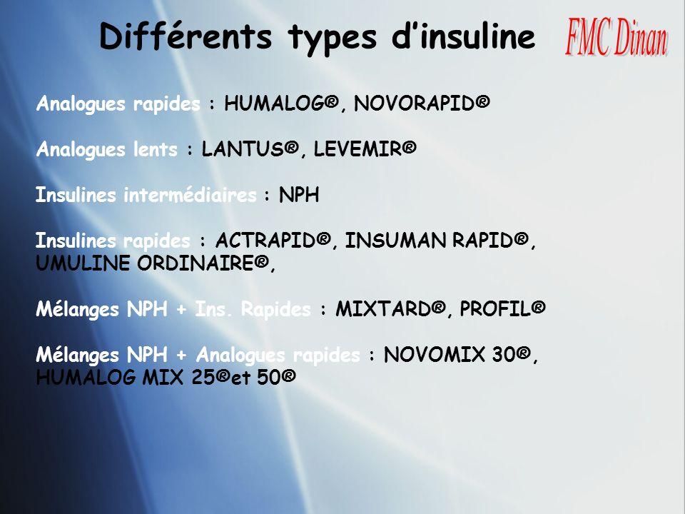 Différents types d'insuline