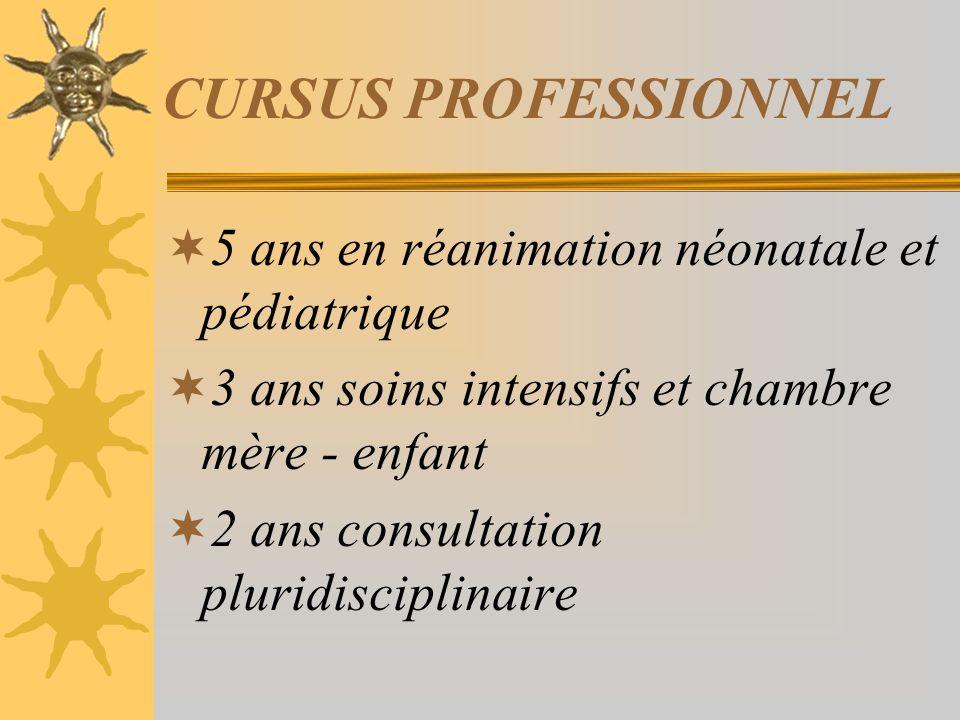 CURSUS PROFESSIONNEL 5 ans en réanimation néonatale et pédiatrique