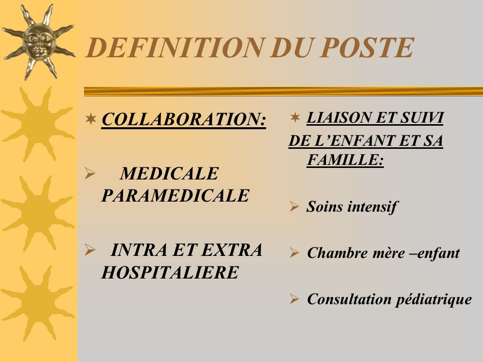 DEFINITION DU POSTE COLLABORATION: MEDICALE PARAMEDICALE