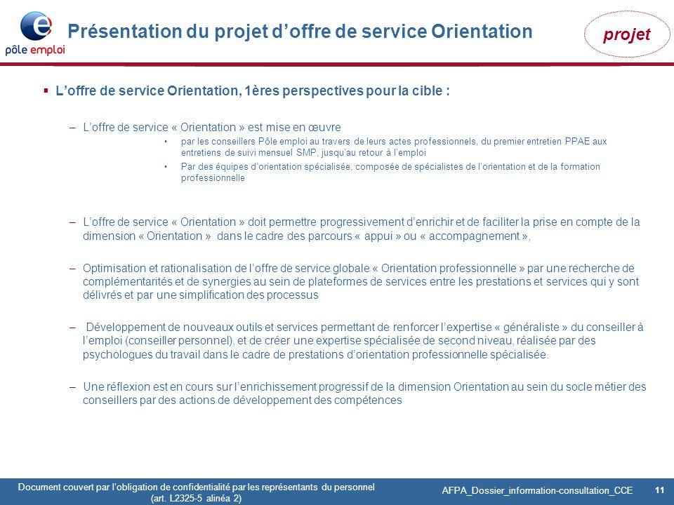 Présentation du projet d'offre de service Orientation