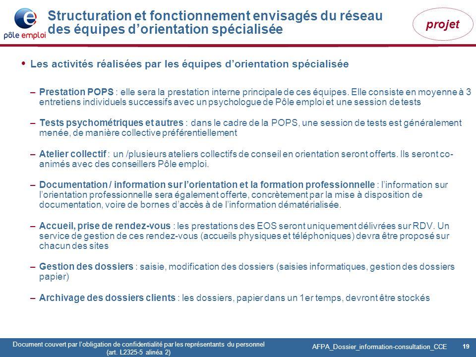 Structuration et fonctionnement envisagés du réseau des équipes d'orientation spécialisée