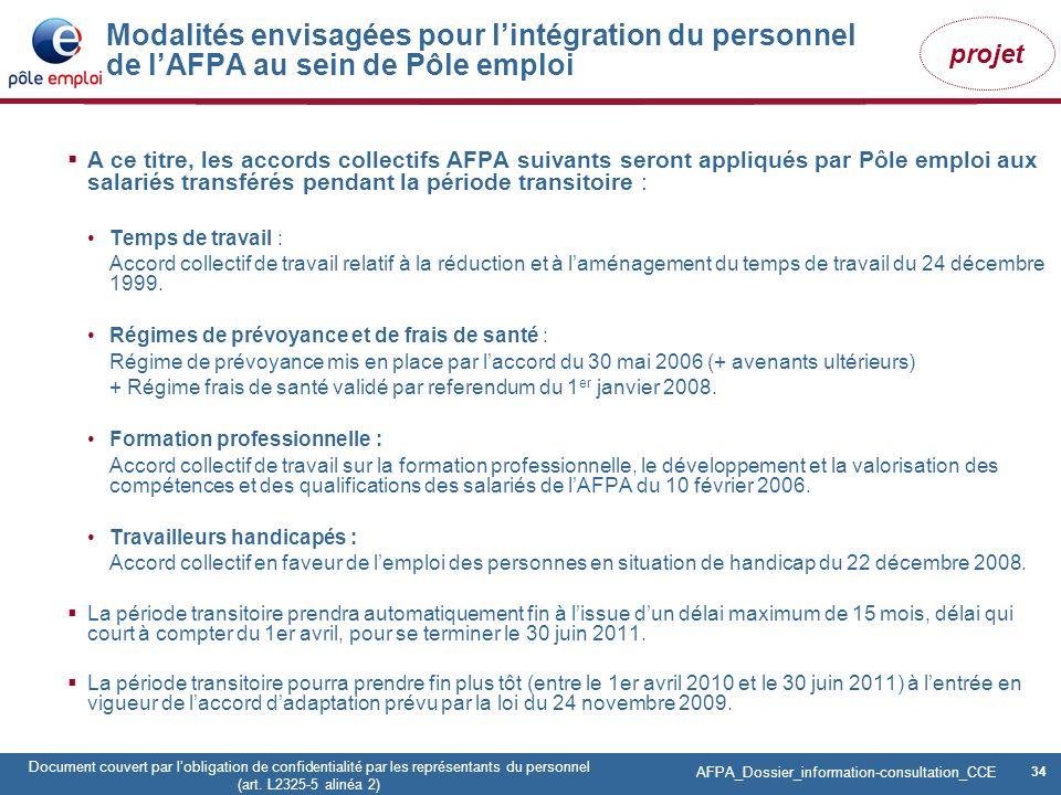 Modalités envisagées pour l'intégration du personnel de l'AFPA au sein de Pôle emploi