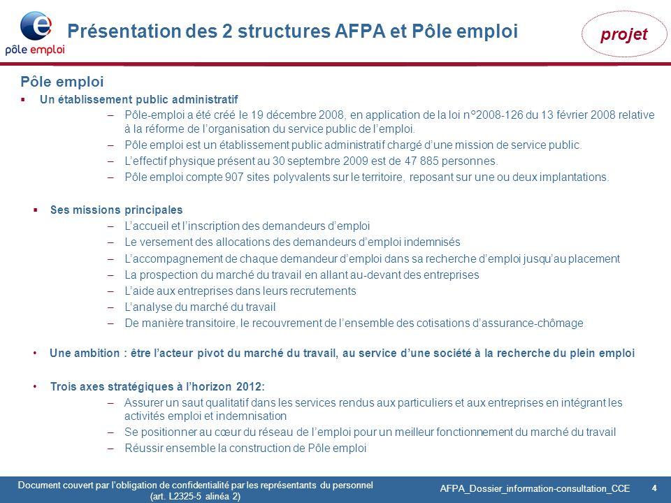 Présentation des 2 structures AFPA et Pôle emploi