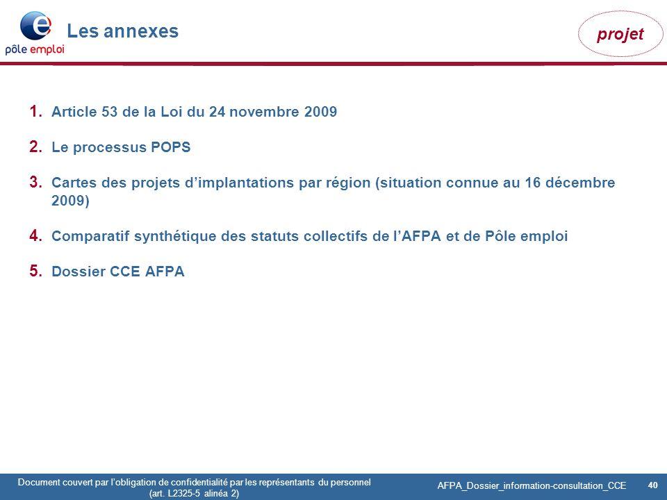 Les annexes Article 53 de la Loi du 24 novembre 2009 Le processus POPS
