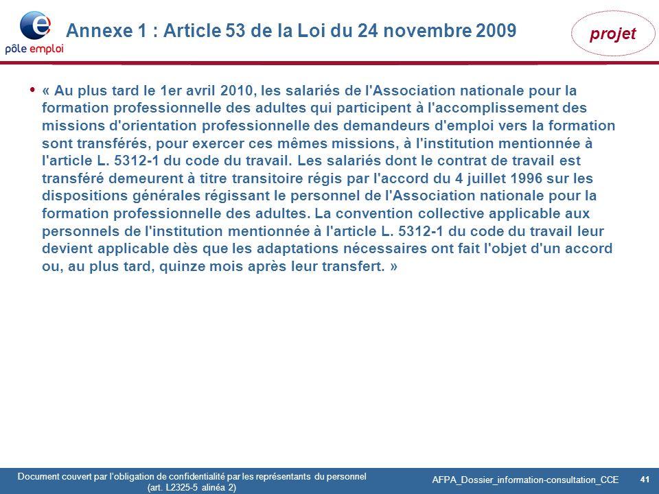 Annexe 1 : Article 53 de la Loi du 24 novembre 2009