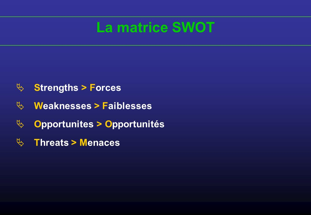 La matrice SWOT Strengths > Forces Weaknesses > Faiblesses