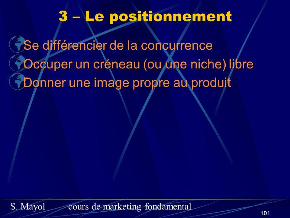 3 – Le positionnement Se différencier de la concurrence