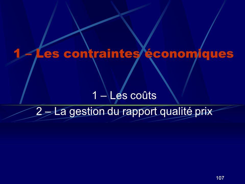 1 – Les contraintes économiques