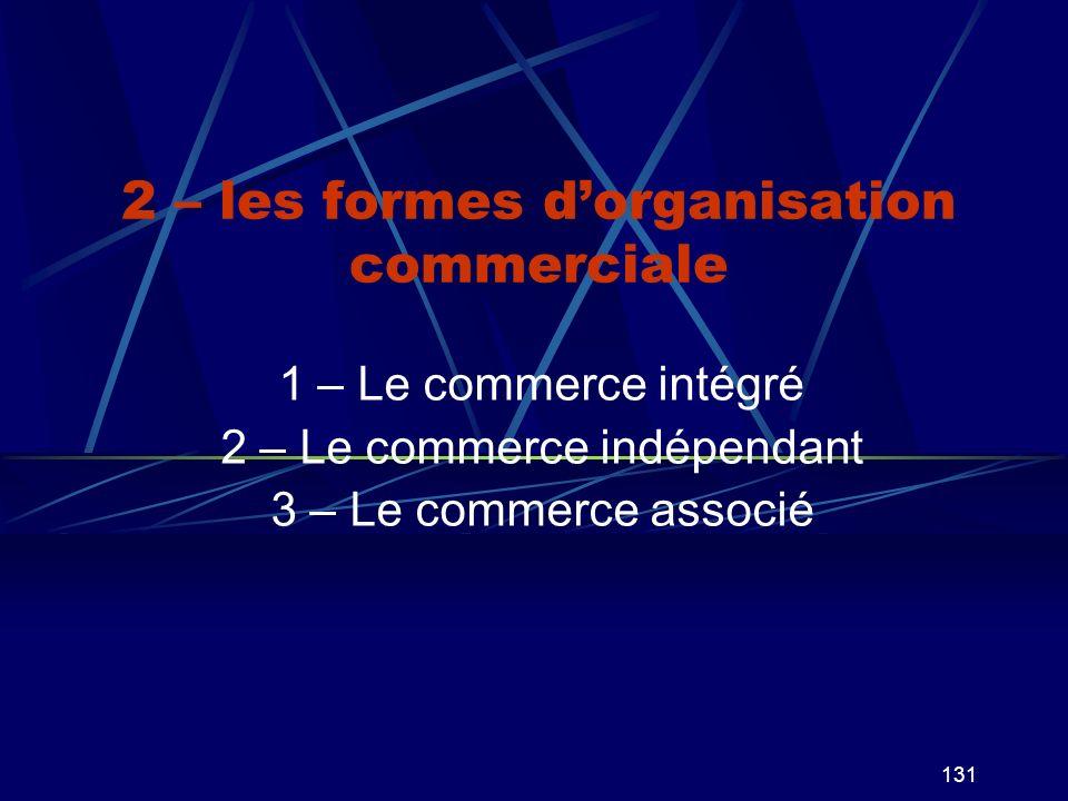 2 – les formes d'organisation commerciale