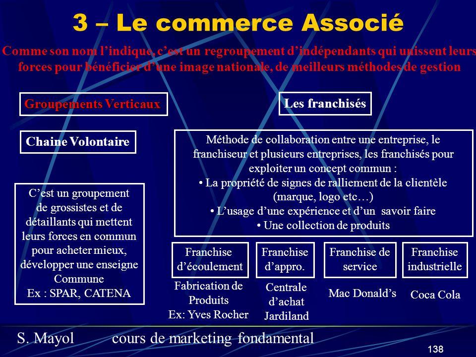 3 – Le commerce Associé Comme son nom l'indique, c'est un regroupement d'indépendants qui unissent leurs.