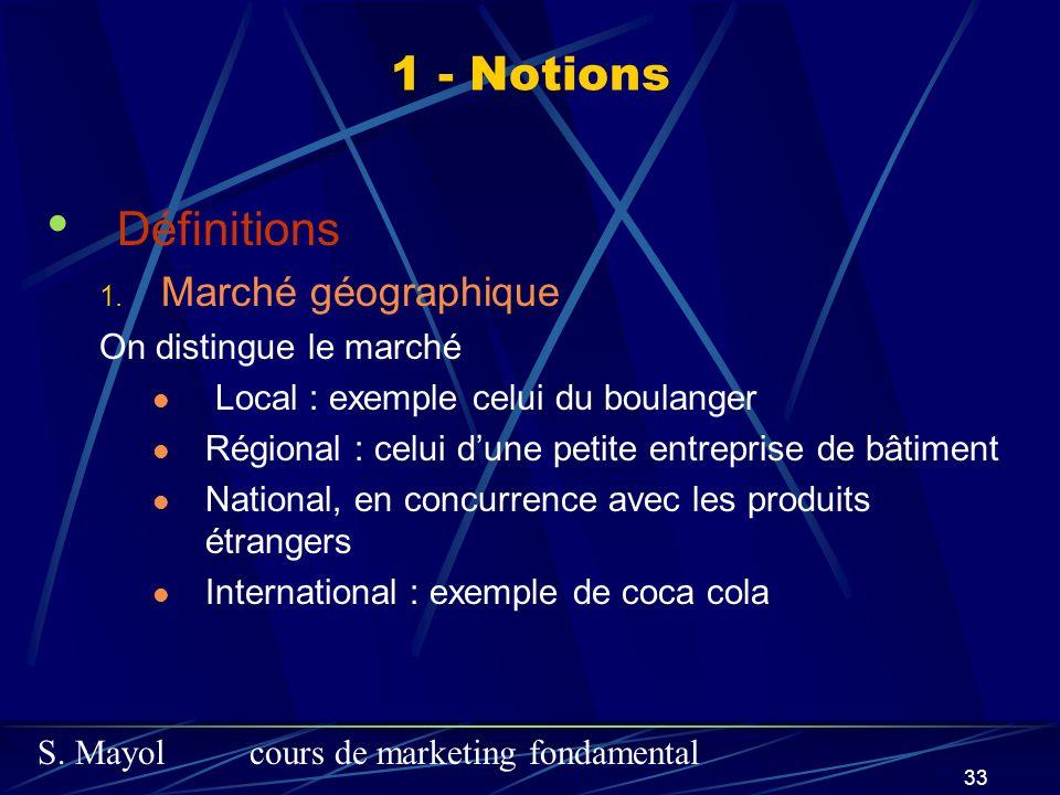 1 - Notions Définitions Marché géographique On distingue le marché