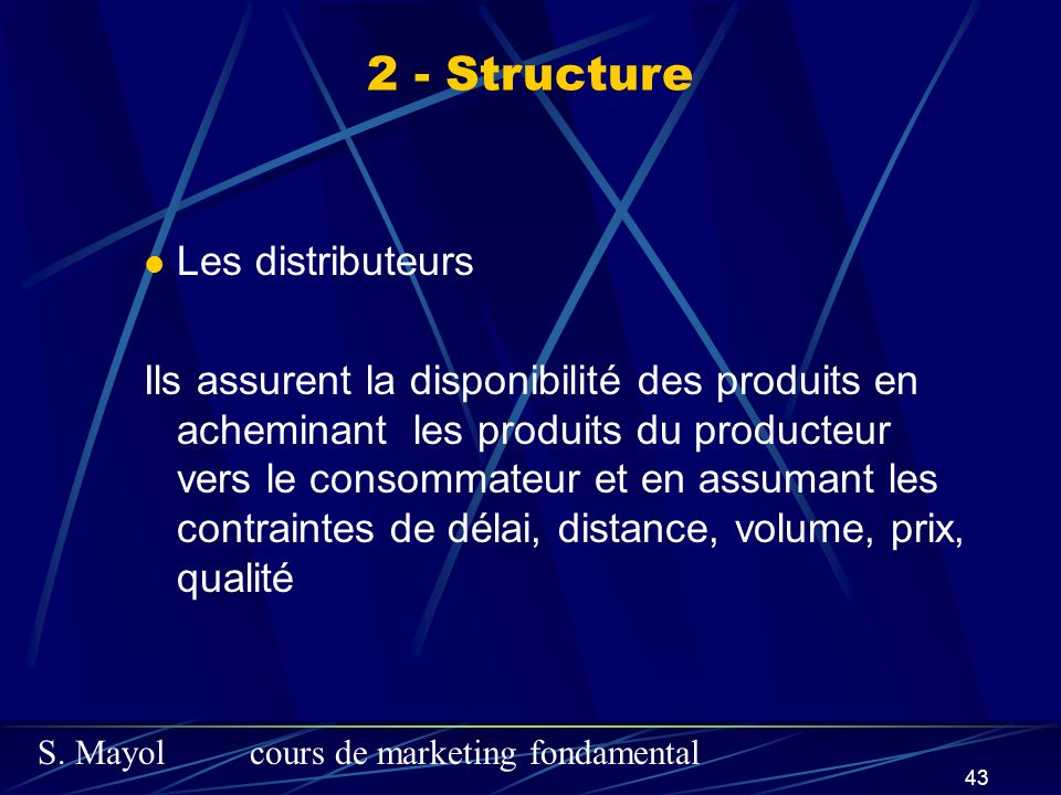 2 - Structure Les distributeurs