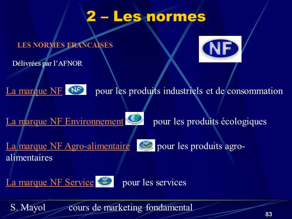 2 – Les normes LES NORMES FRANCAISES. Délivrées par l'AFNOR. La marque NF pour les produits industriels et de consommation.