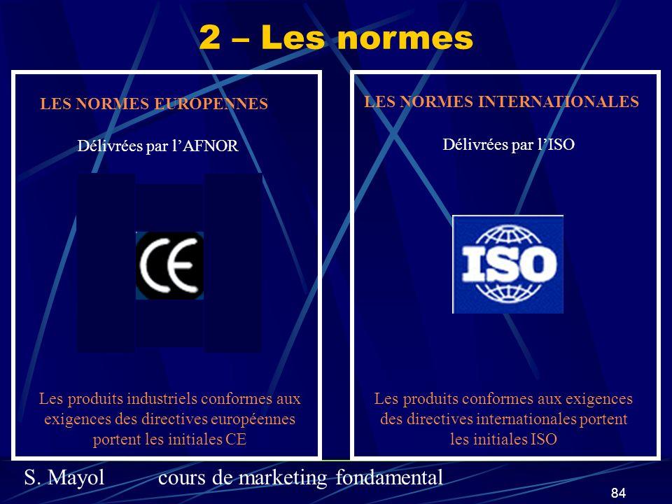 2 – Les normes LES NORMES EUROPENNES LES NORMES INTERNATIONALES