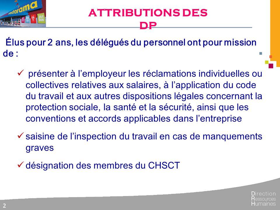 ATTRIBUTIONS DES DP Élus pour 2 ans, les délégués du personnel ont pour mission de :