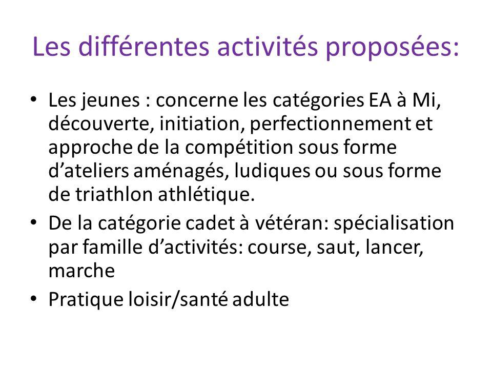 Les différentes activités proposées: