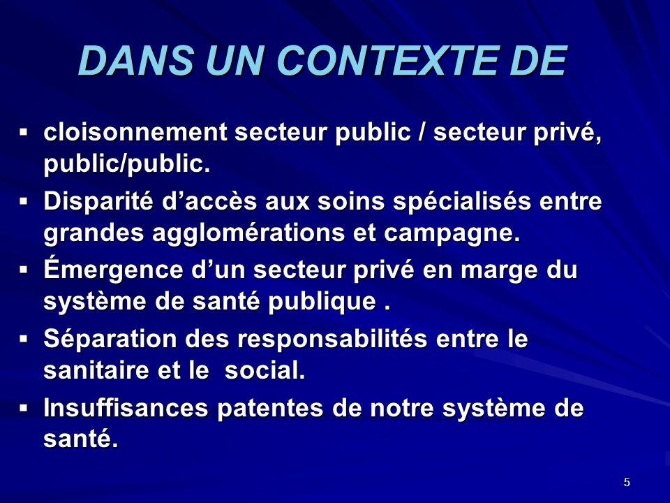 DANS UN CONTEXTE DE cloisonnement secteur public / secteur privé, public/public.