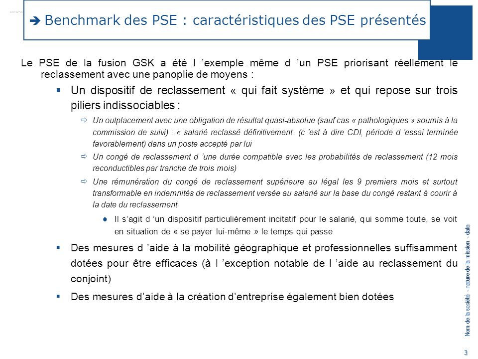 Benchmark des PSE : caractéristiques des PSE présentés
