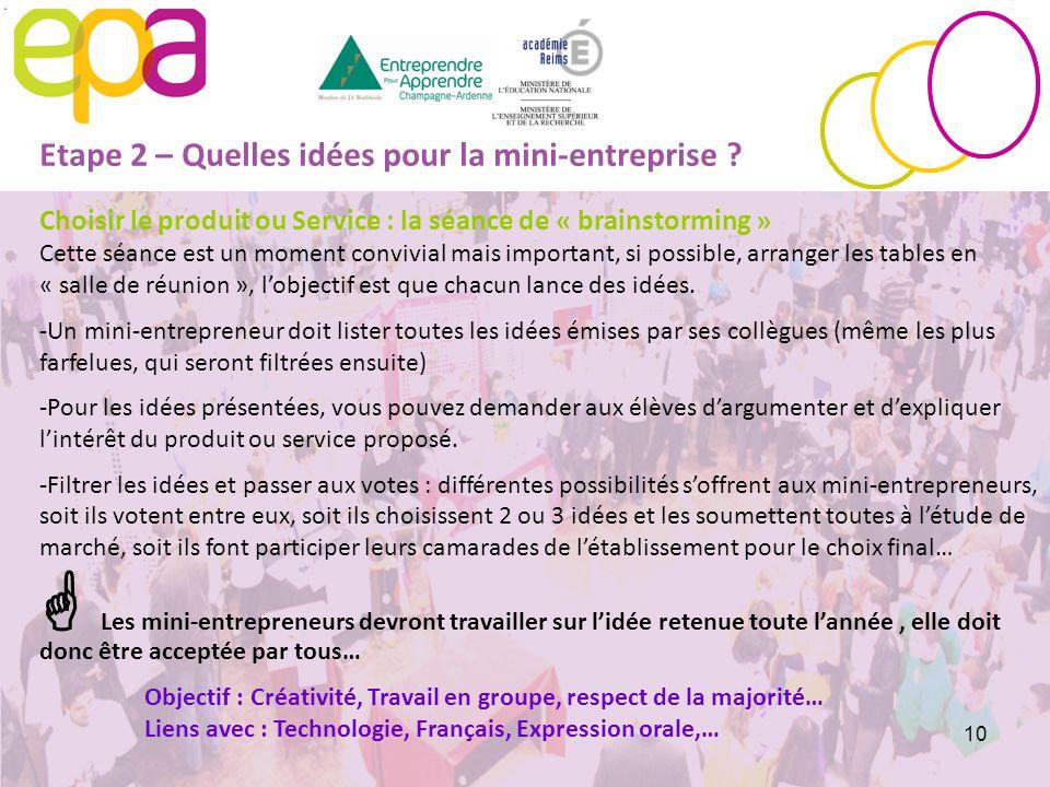 Etape 2 – Quelles idées pour la mini-entreprise
