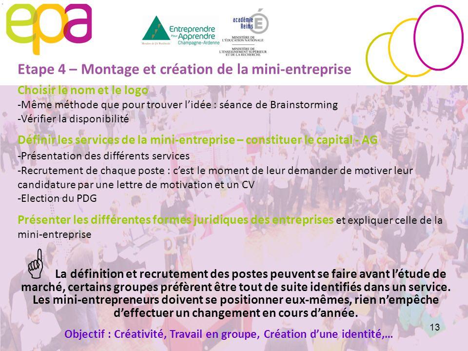 Etape 4 – Montage et création de la mini-entreprise