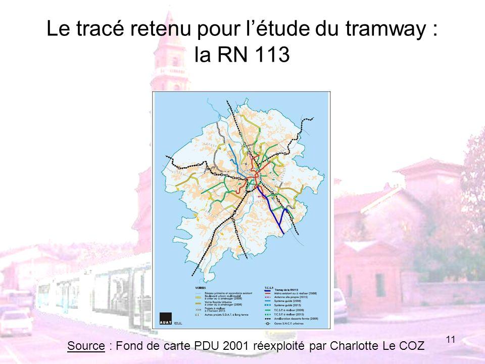 Le tracé retenu pour l'étude du tramway : la RN 113