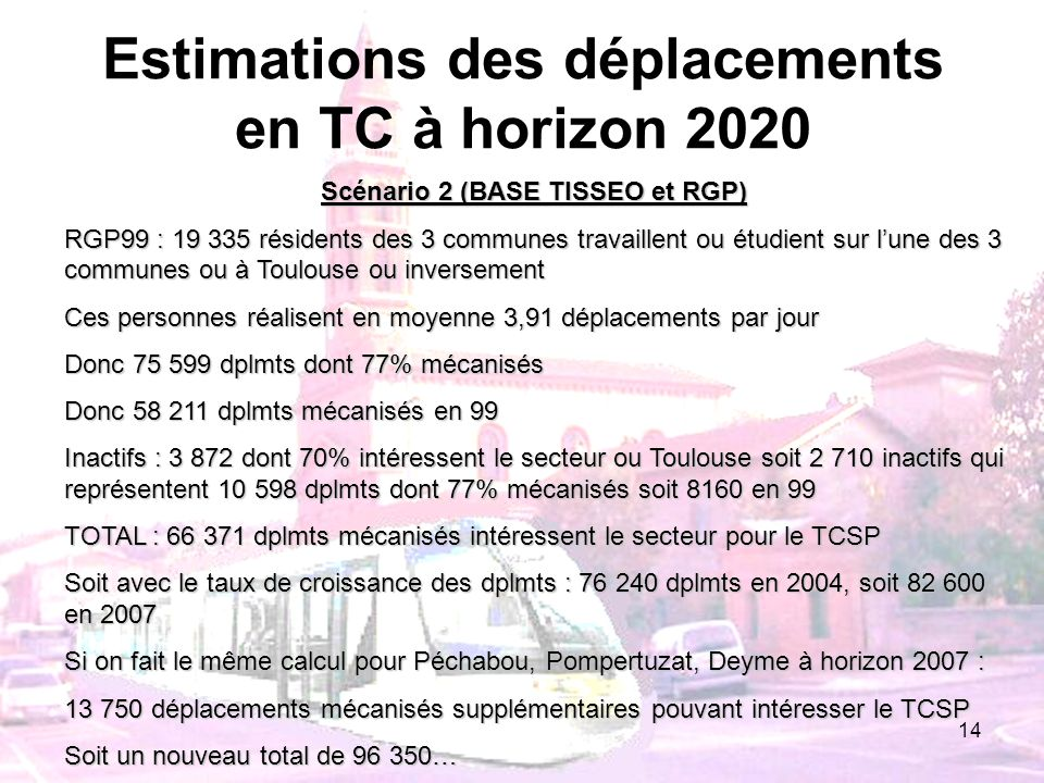 Estimations des déplacements en TC à horizon 2020