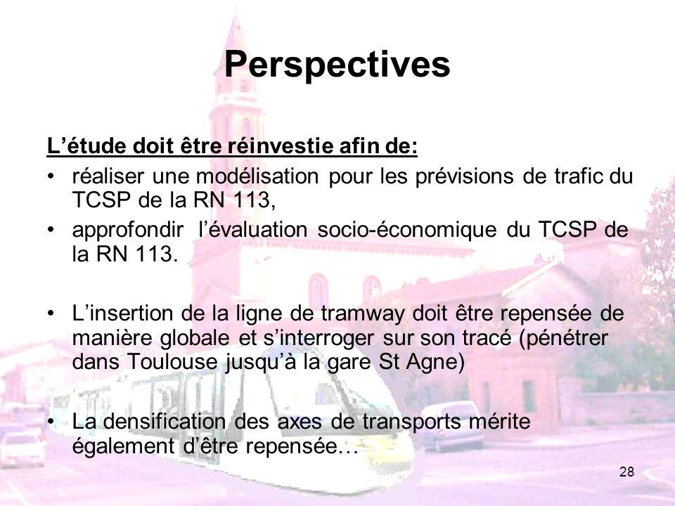 Perspectives L'étude doit être réinvestie afin de: