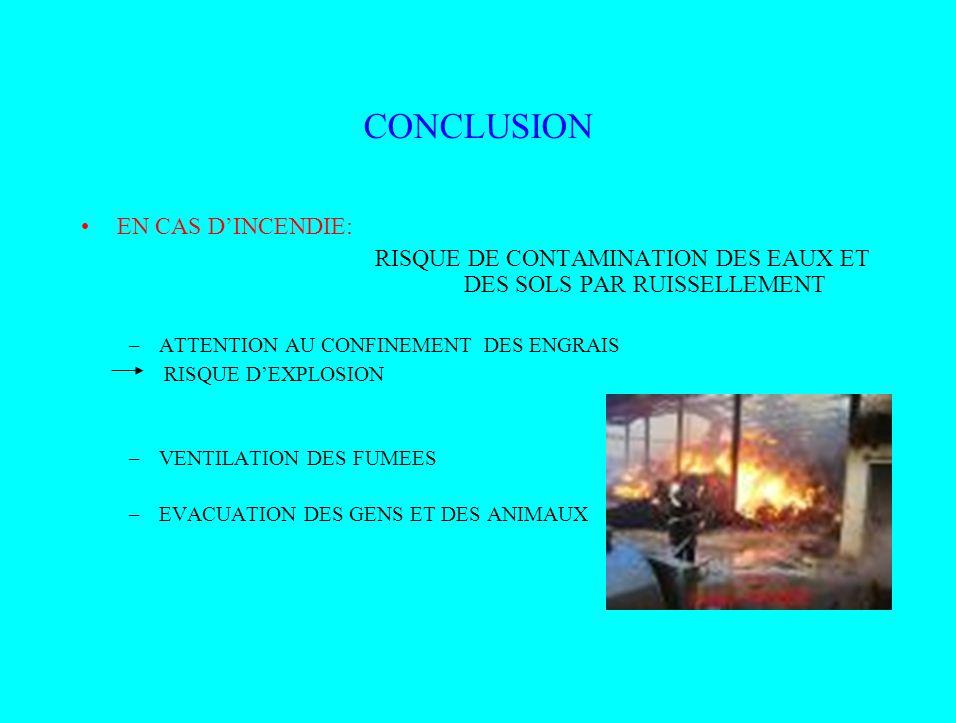 CONCLUSION EN CAS D'INCENDIE: