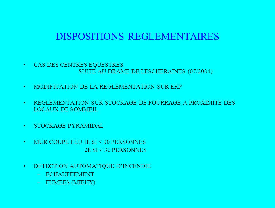 DISPOSITIONS REGLEMENTAIRES