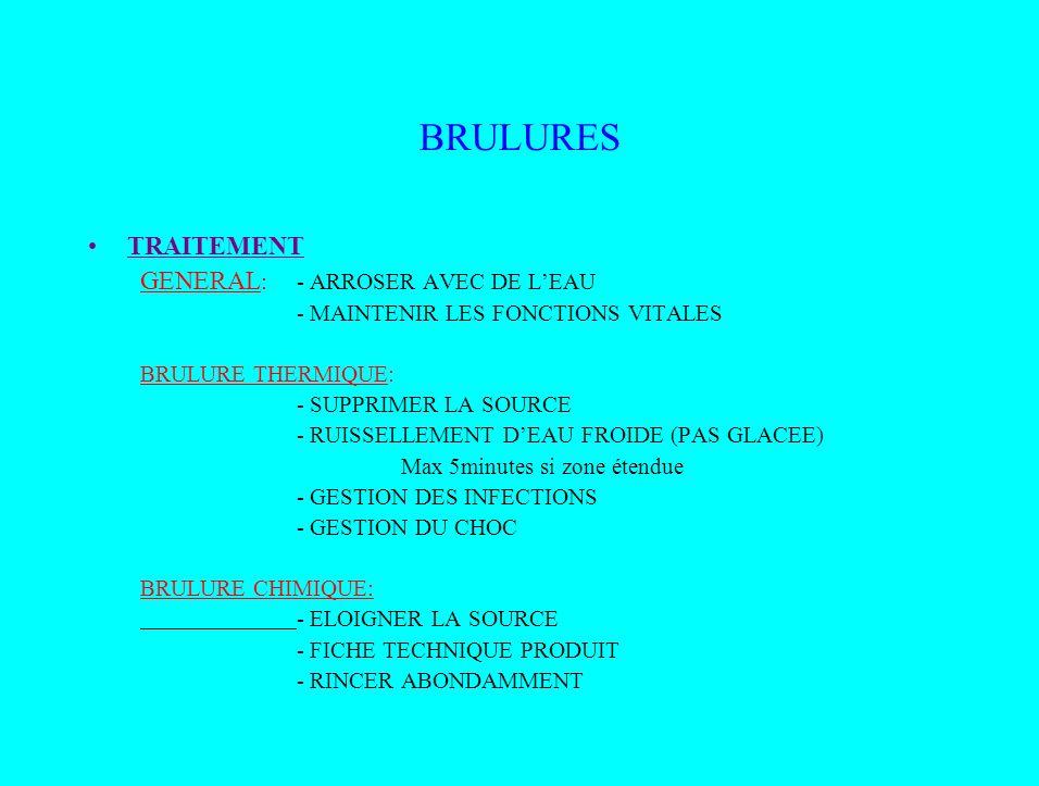 BRULURES TRAITEMENT GENERAL: - ARROSER AVEC DE L'EAU