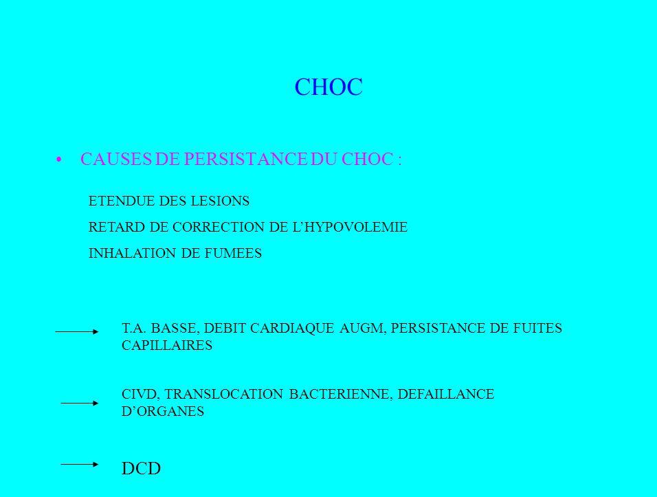 CHOC CAUSES DE PERSISTANCE DU CHOC : DCD ETENDUE DES LESIONS