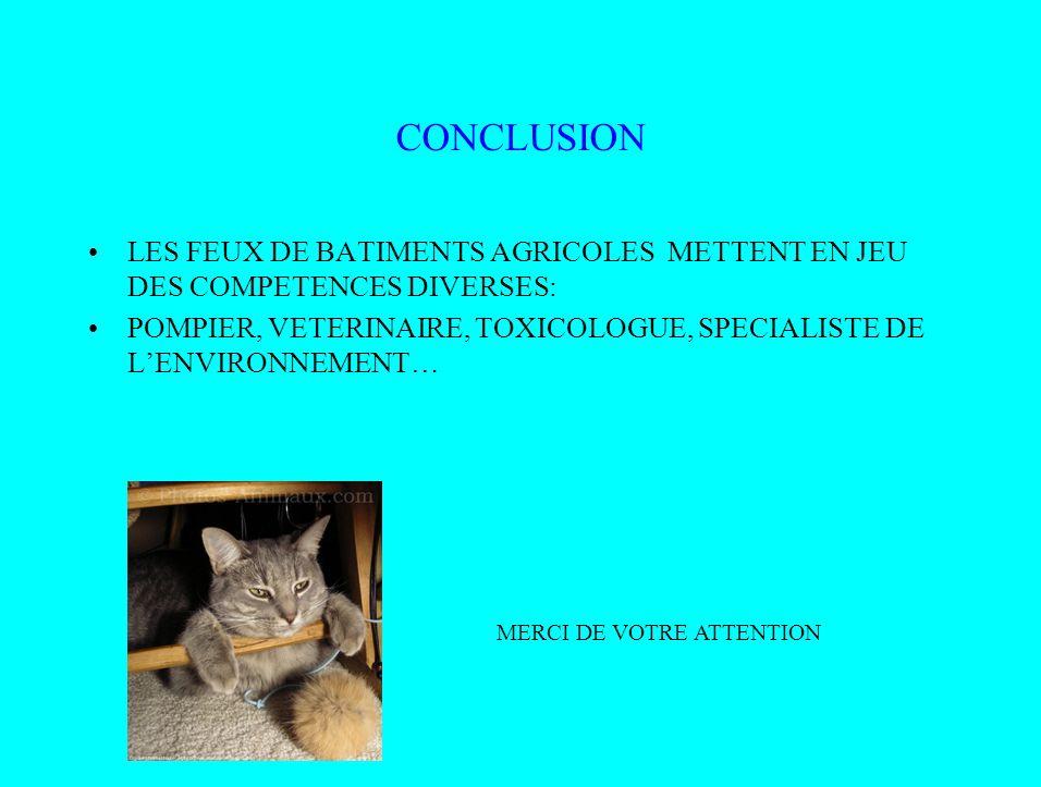 CONCLUSION LES FEUX DE BATIMENTS AGRICOLES METTENT EN JEU DES COMPETENCES DIVERSES: