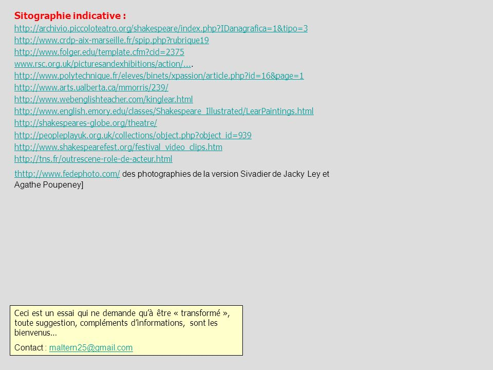 Sitographie indicative :