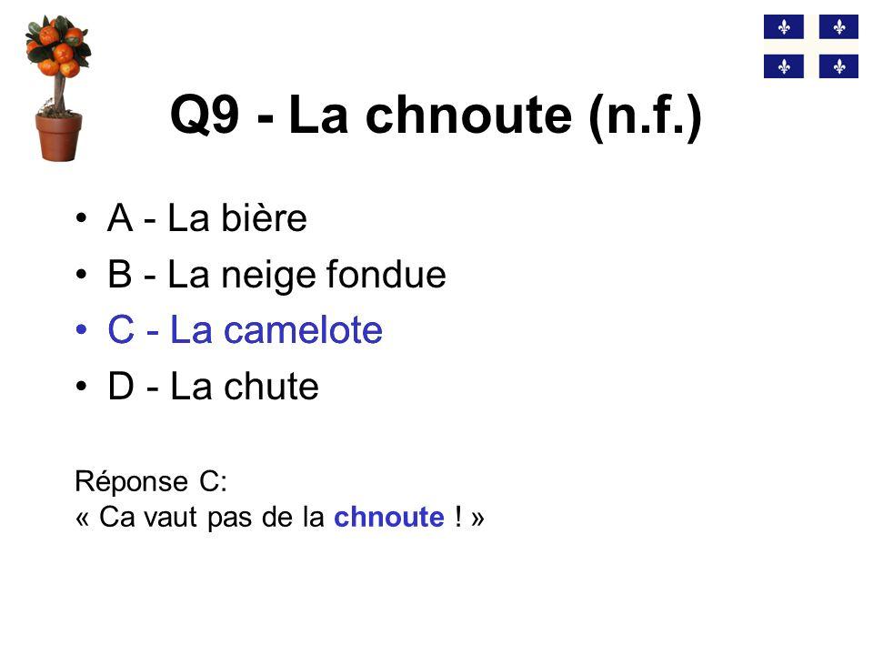 Q9 - La chnoute (n.f.) C - La camelote A - La bière