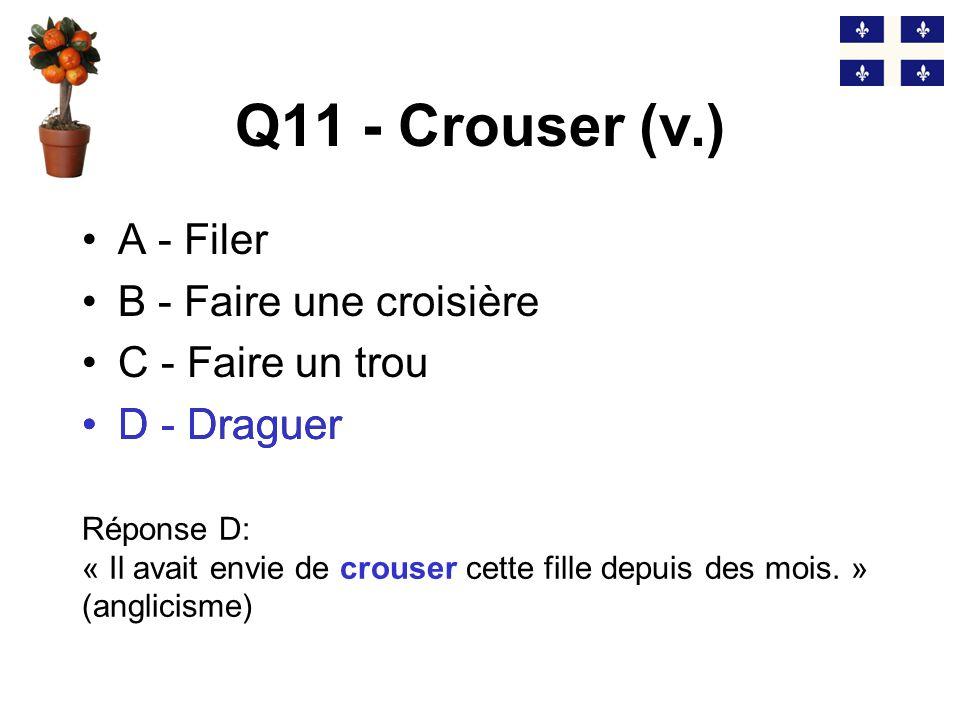 Q11 - Crouser (v.) D - Draguer A - Filer B - Faire une croisière