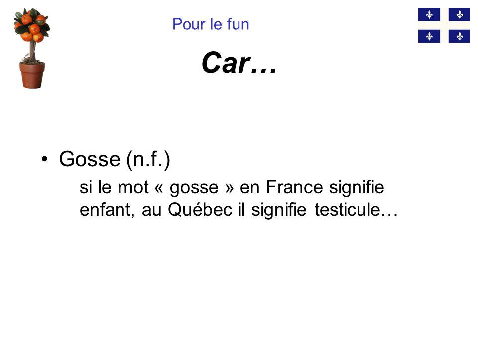 Pour le fun Car… Gosse (n.f.) si le mot « gosse » en France signifie enfant, au Québec il signifie testicule…