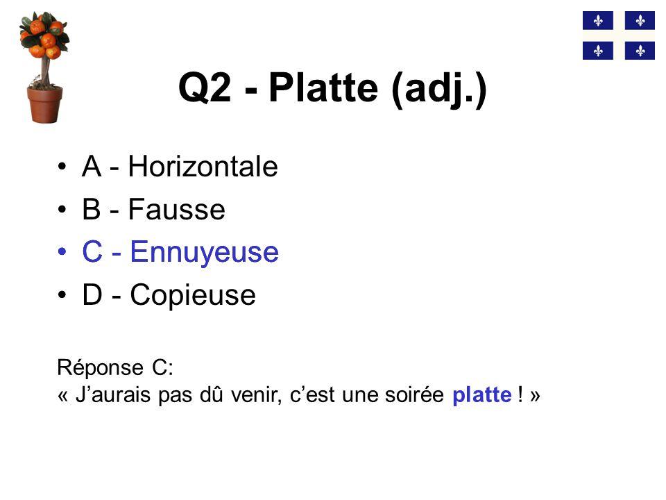 Q2 - Platte (adj.) C - Ennuyeuse A - Horizontale B - Fausse