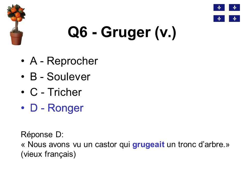 Q6 - Gruger (v.) D - Ronger A - Reprocher B - Soulever C - Tricher