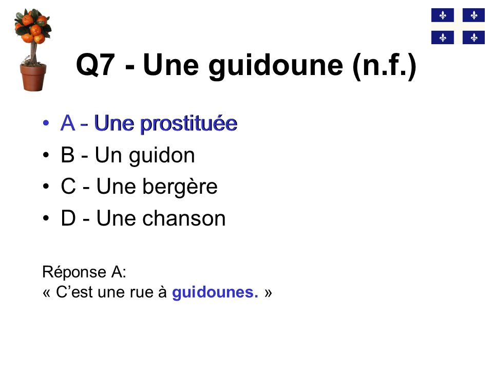 Q7 - Une guidoune (n.f.) A - Une prostituée A - Une prostituée