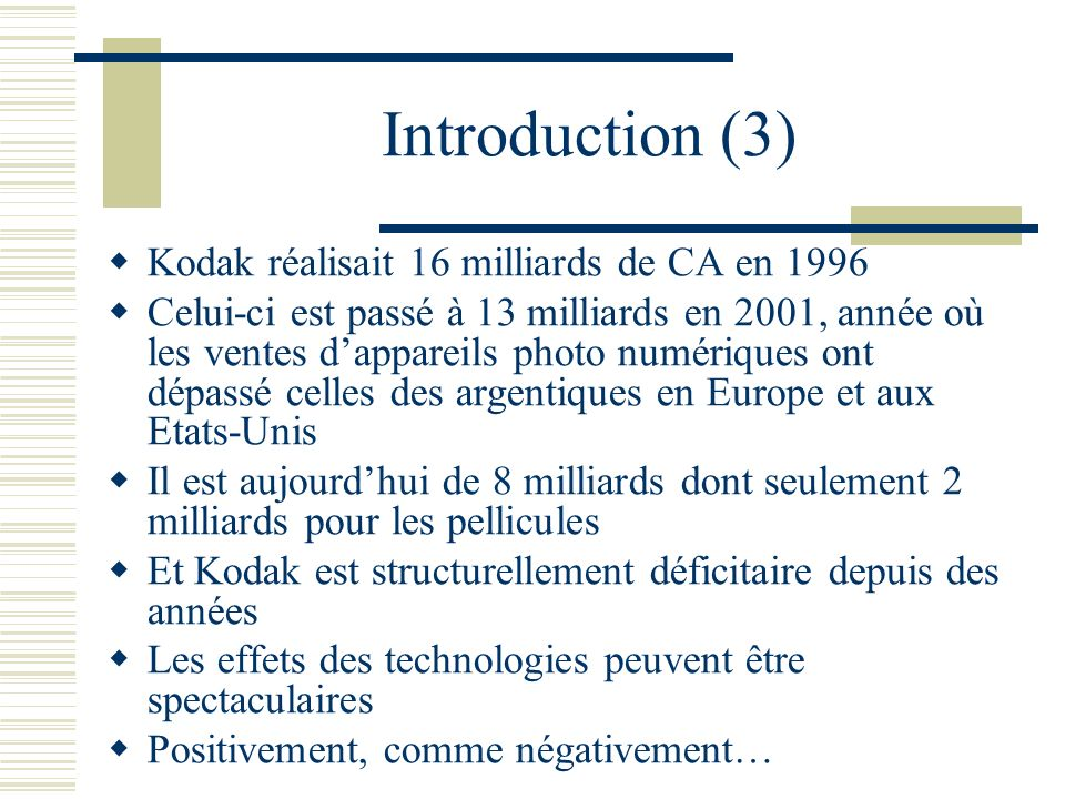 Introduction (3) Kodak réalisait 16 milliards de CA en 1996