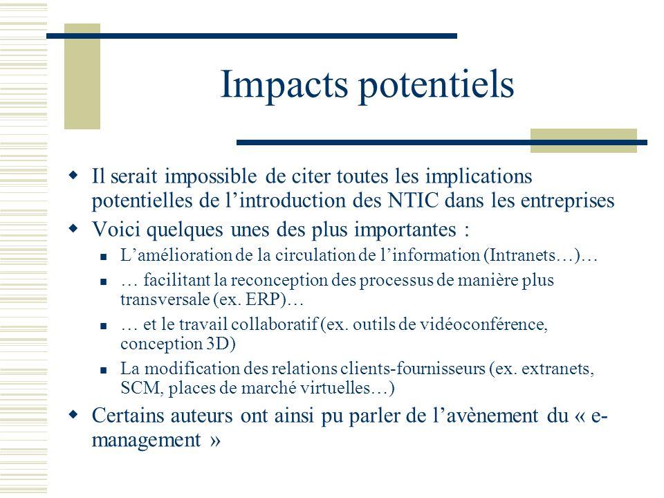 Impacts potentiels Il serait impossible de citer toutes les implications potentielles de l'introduction des NTIC dans les entreprises.