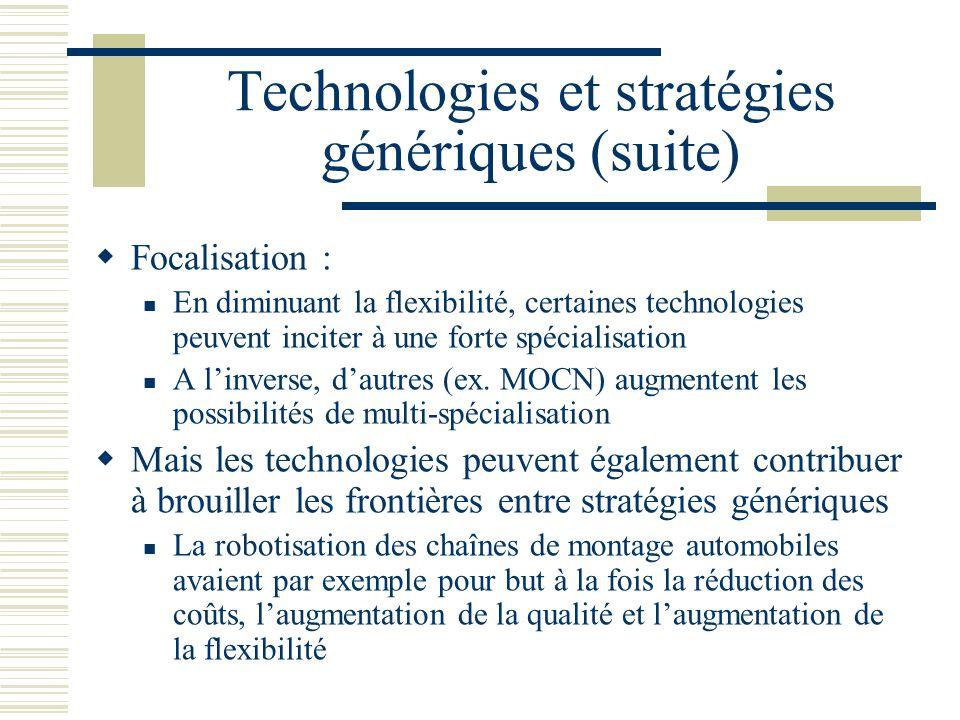 Technologies et stratégies génériques (suite)
