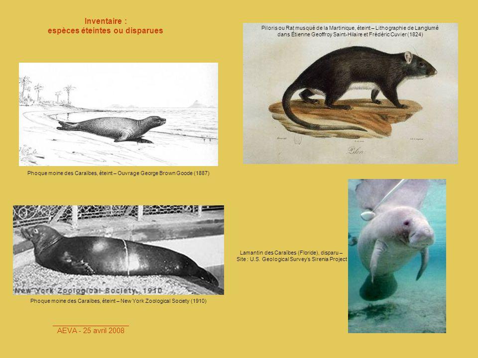 espèces éteintes ou disparues