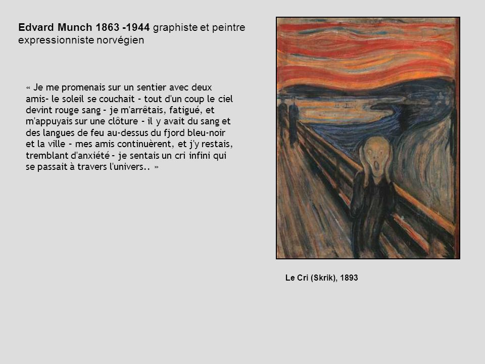 Edvard Munch 1863 -1944 graphiste et peintre expressionniste norvégien