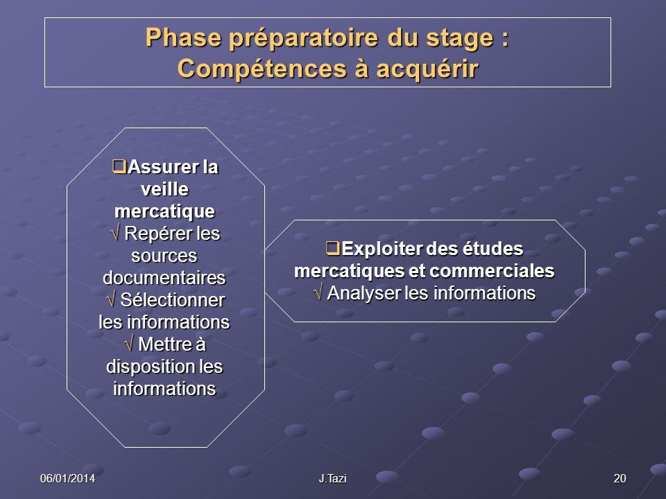 Phase préparatoire du stage : Compétences à acquérir