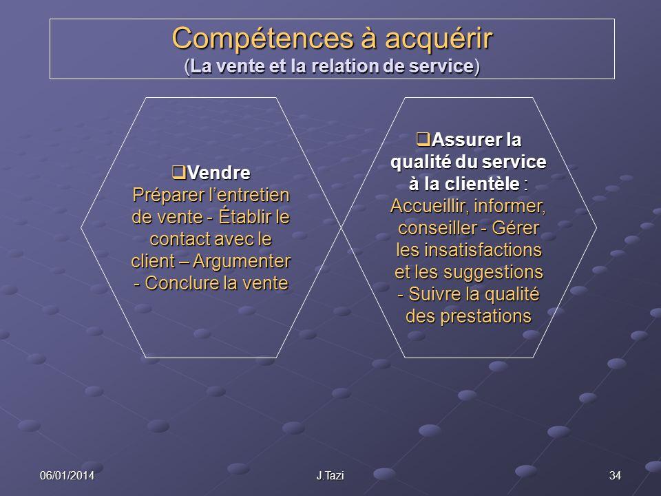 Compétences à acquérir (La vente et la relation de service)