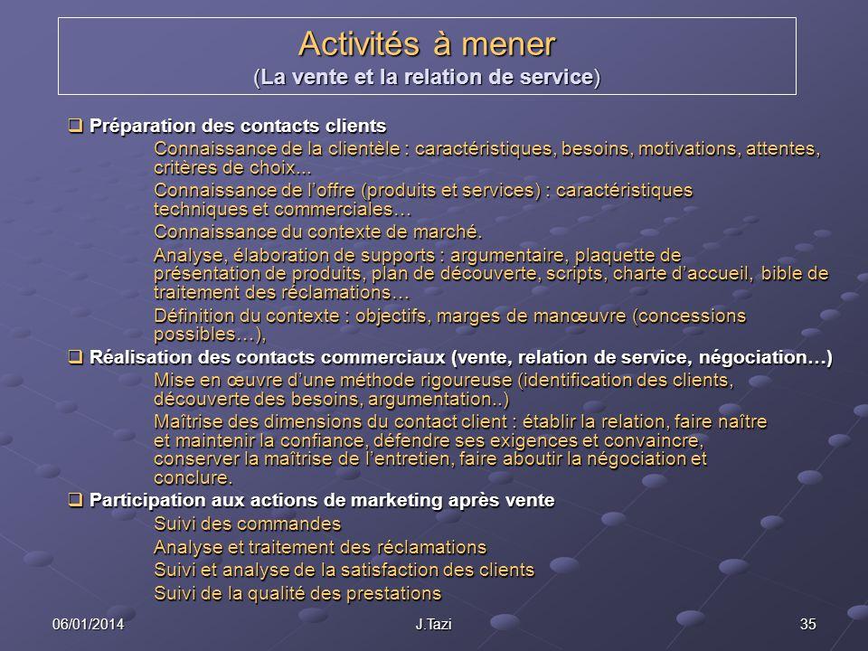 Activités à mener (La vente et la relation de service)