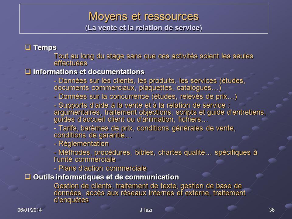Moyens et ressources (La vente et la relation de service)