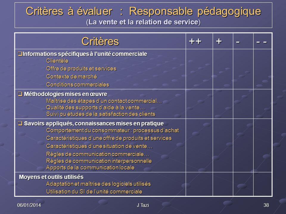 Critères à évaluer : Responsable pédagogique (La vente et la relation de service)